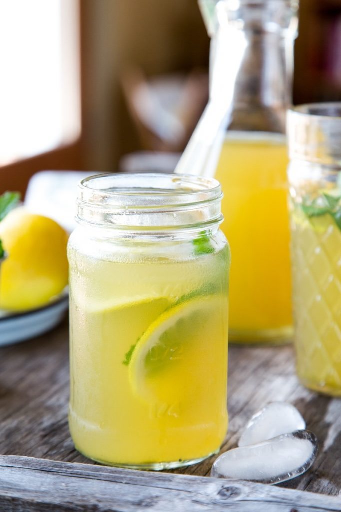iced green tea with mint and ginger